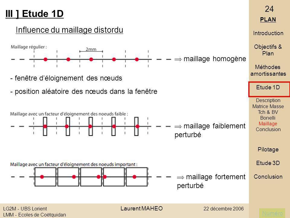 III ] Etude 1D Influence du maillage distordu  maillage homogène